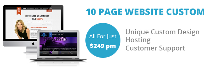 Website packages for small business - Custom designs from $249 pm