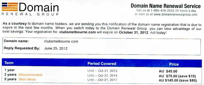 domain renewal scam